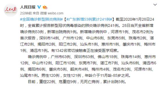广东新增新型肺炎确诊病例53例  广东新增53例累计241例