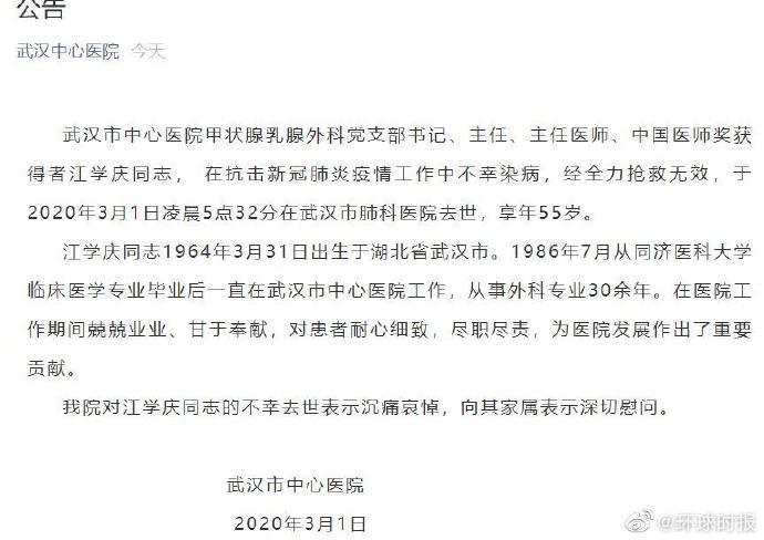 武汉中心医院江学庆医生感染新冠去世!江学庆医生感染去世