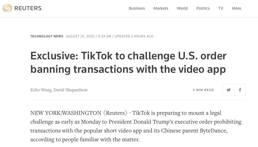 TikTok计划最早下周起诉特朗普政府!