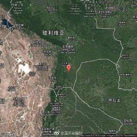 玻利维亚发生地震    震级6.4,震源深度600千米。