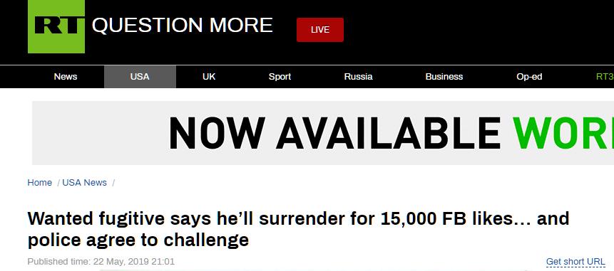 集1.5万个赞自首 点赞已达1.7万通缉犯还未自首