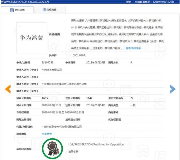 华为注册鸿蒙 商标专用权限期是10年