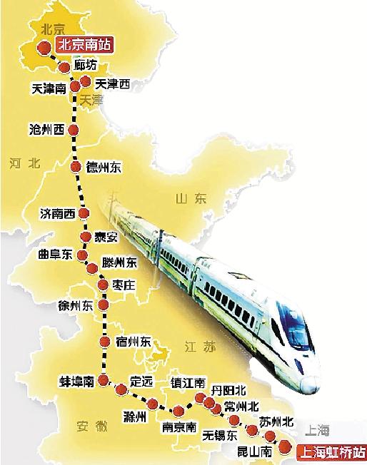 跑一趟京沪3.5小时 京沪高铁线路图