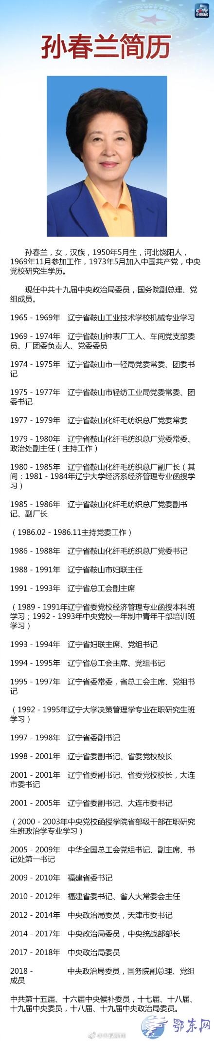 孙春兰:新中国成立后第五位女副总理   孙春兰简历
