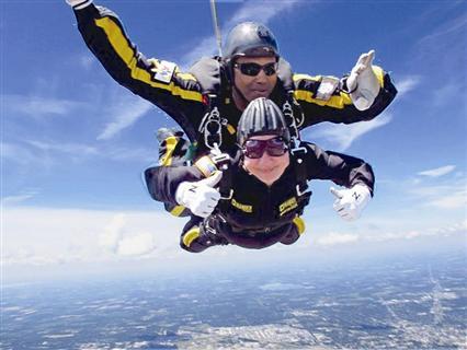 80岁老奶奶完成高空跳伞 是真的吗?